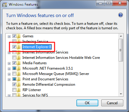 Turn Windows Features Dialog